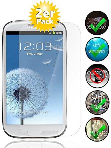Smartphone Equipment [2er Pack] Panzerglas für Samsung Galaxy S3 gehärtetes Glas 9H, Echtglas Glasfolie Panzerglasfolie Panzerfolie Folie Bildschirmschutz Schutzfolie