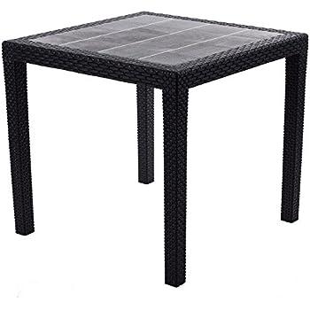 Tavolo tavolino king in dura resina finto rattan vimini bianco bar casa