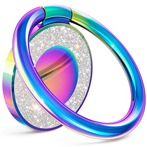 Cell Phone Ring Holder Finger Kickstand, Allengel Bling Metal Finger Ring Grip Stand for Strong Magnetic Car Mount Compatible with Smartphone (Colorful)