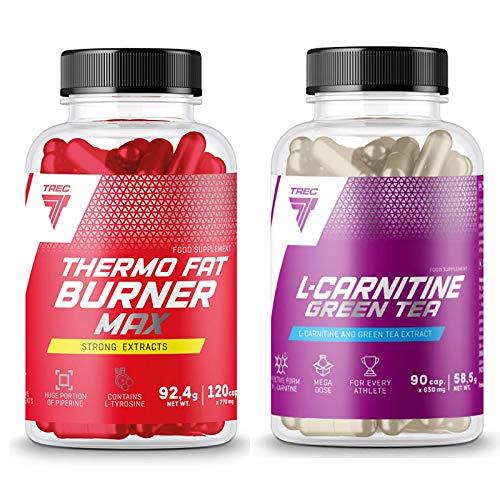 Thermo Fat Burner MAX 120 Capsules + L-Carnitine Green Tea 90 Capsules | Gewichtsverlies | Afslankpillen | Energiepillen | Vermindering van vetweefsel