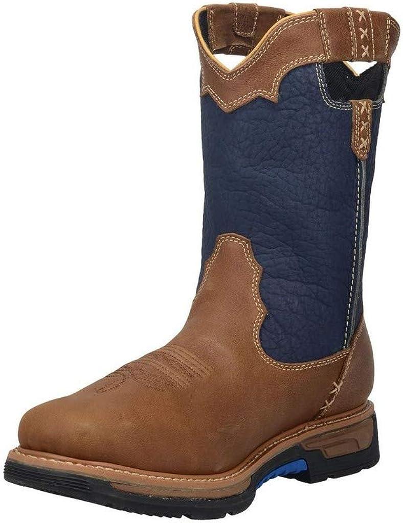 Dan Post Mens Denim/Brown Scoop 11in Waterproof Cowboy Boots Leather 9.5 M