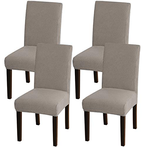 Turquoize Chair Covers for Dining Room Dining Chair Covers Set of 4 Stretch Dining Chair Slipcover Parsons Chair Covers Removable Chair Protector Covers for Dining Room, Hotel, Ceremony (4, Taupe)