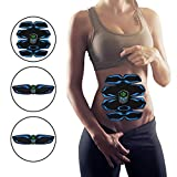 RXRENXIA Stimulateur ABS, Stimulateur ABS Rechargeable De Toner De Muscle Abdominal, EntraîNeur Portatif De Muscle pour Hommes Femmes, Intelligente De Bureau à La Maison D'EMS 8Modes