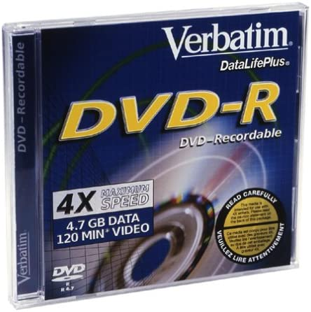 Verbatim 4x 4.7GB DVD-R Branded with 1 New color Deluxe Discon Jewel pack Case