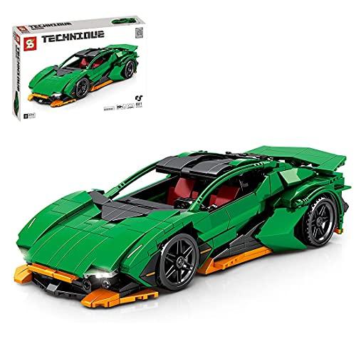 EWWEEQQ Technics Racing Car 681 Piezas Pull Back Car Super Sports Car Advanced Building Set Juego de construcción de vehículos coleccionables Compatible con Lego Technic - Verde