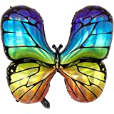 DIWULI, Globo grande de mariposas multicolor, de lámina arcoíris, para cumpleaños, cumpleaños infantiles, fiestas temáticas, bodas, decoración, regalo