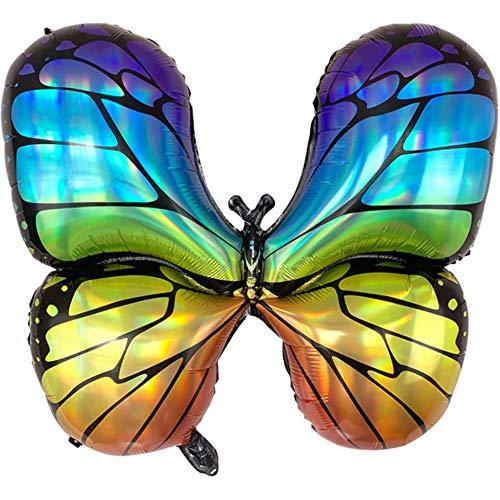 DIWULI, großer Schmetterling Luftballon bunt, Butterfly Folien-Luftballon Regenbogen, Folien-Ballon für Geburtstag, Junge Mädchen Kindergeburtstag, Motto-Party, Hochzeit, Dekoration, Geschenk-Deko