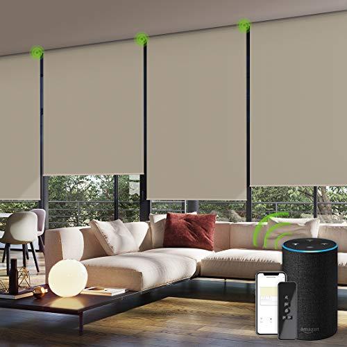 Yoolax Elektrische Rollos mit Motor Fernbedienung Alexa Google Home kompatibel Wiederaufladbar Wasserdicht 100% Verdunkelung für Büro Wohnhaus Benutzerdefinierte Größe(Kaffee)