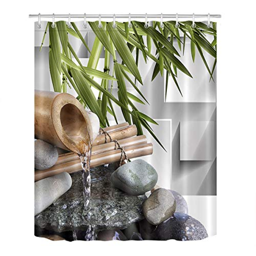LB Japanese Zen Bamboo Decor Shower Curtain for Shower Stall...