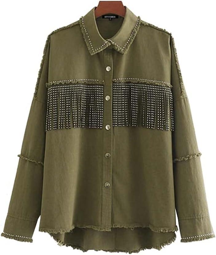 HLMSKD Women Fashion Oversized Frayed with Fringe Denim Jacket Coat Vintage Long Sleeve Tassel Female Outerwear Chic Tops (Color : Green, Size : L Code)