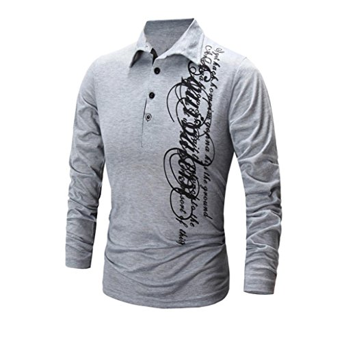 ZYooh Premium High Collar Men's Long Sleeves,Fashion Button Stand-up Tight Casual Letter Printing Dress Shirt Blouse (L2, Gray)