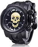 JSL Hombres s personalidad calavera reloj grande esfera silicona cuarzo reloj multifunción reloj negro2-negro2