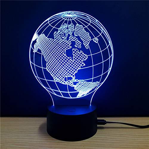 WZYMNYD Terre Modèle Conception USB 3D Night Light Creative 7 Couleurs Changement Coloré Bureau LED Lampe Décor Chambre Éclairage Cadeaux D'anniversaire