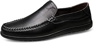 Shhdd Simple and sewed in the classic leather lightweight intimate ventilation manual sutures loafers men round toe slip (Color : Black, Size : 42 EU)