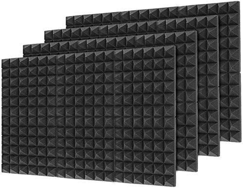 "Little-Lucky Acoustic Foam Panels,SoundProof Padding Foam Panels,2"" X 12"" X 12"" Studio Foam Pyramid Tiles Sound Absorbing Dampening Foam Treatment Wall Panels -48Pack (48Pack, Black)"