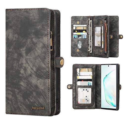 Galaxy Note 10 Plus Hülle Brieftasche Handyhülle Abnehmbar Multifunktional Leder Folio Flip Kartenfach Wallet Schutzhülle Tasche Hülle Cover Für Samsung Galaxy Note 10 Plus/Note 10+/5G,Schwarz