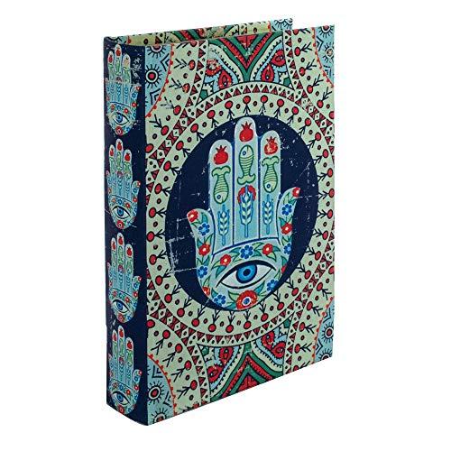 BY SIGRIS Signes Grimalt Libros Decorativos | Caja Libro de Madera - Diseño Mano de Fátima 2, 26x5x17 cm