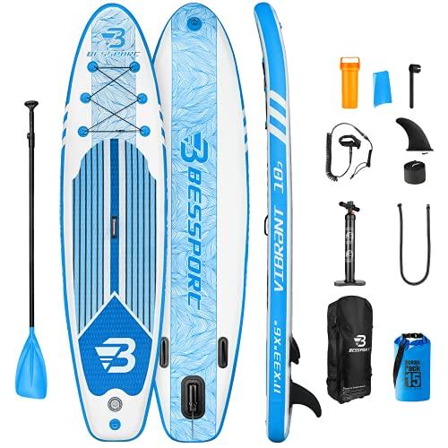 Bessport Tabla Paddle Surf Hinchable 310 & 335 cm, Stand-up Paddle Surf, Tabla de Paddle Surf HinchableIntegral con Mochila, Remo Flotable, Carga hasta 125/150 kg, para Principiantes,Adultos