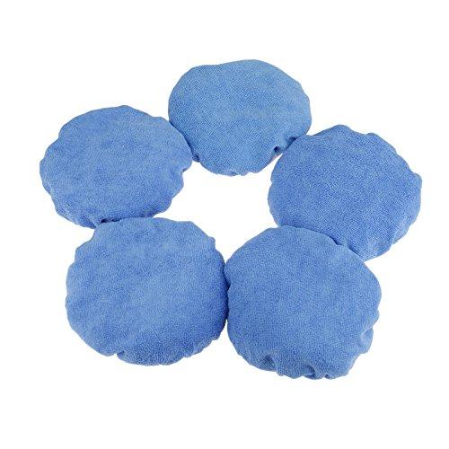 Mtsooning 5Pcs Blue 9-10 inch Cotton Plush Car Polishing Waxing Polisher Bonnet Buffing Pad Cover