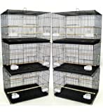 "【Lot of 6】 Size:【 24"" x 16"" x 16""H】 Breeding Bird Flight Cages Lift Up front door with one small door inside, Slide out bottom tray Bird Safe Epoxy Coated Finish; Include Feeder Cups, Feeder Doors and Wooden Perches Bar Spacing: 3/8"" For Small Size B..."