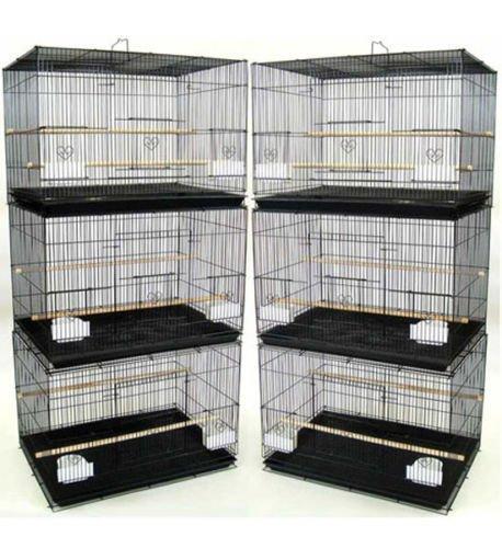 "Lot of 6 Aviary Breeding Bird Finch Parakeet Finch Flight Cage 24"" x 16"" x 16"" Black"