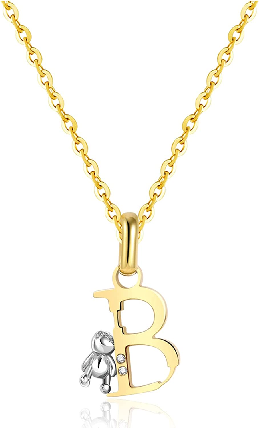 CILILI 18K Gold Filled Initial Bear Pendant with Cubic Zirconia Stainless Steel Chain Necklace Personalized Jewelry Gifts for Girls Women