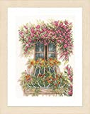 Unbekannt Lanarte Kreuzstichset Fenster geschmückt mit Blumen, Zählmuster Kit de punto de cruz con patrón de números, algodón, multicolor, 27.0 x 36.0 x 0,3 cm