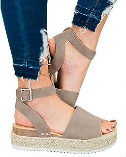 3857d4f7c01 XMWEALTHY Women s Ankle Strap Platform Wedges Sandals Casual Open Toe  Espadrilles Sandals for Summer