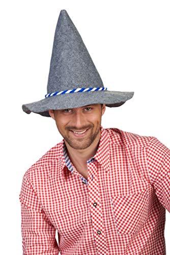 Andrea Moden 5018106 - Seppl hoed met blauw wit koord, voor volwassenen, klederdrachthoed, Oktoberfest, Bavaria, vilten hoed, motto party, carnaval