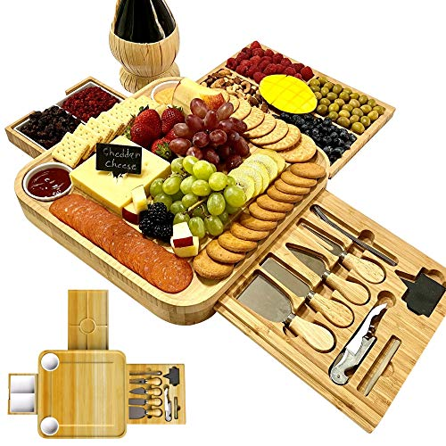 iBambooMart Cheese Board and Knife Set, Wooden Charcuterie, Bamboo...