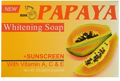 Original RDL Papaya Skin Whitening Soap plus Sunscreen w/ Vitamin A, C & E - 135...