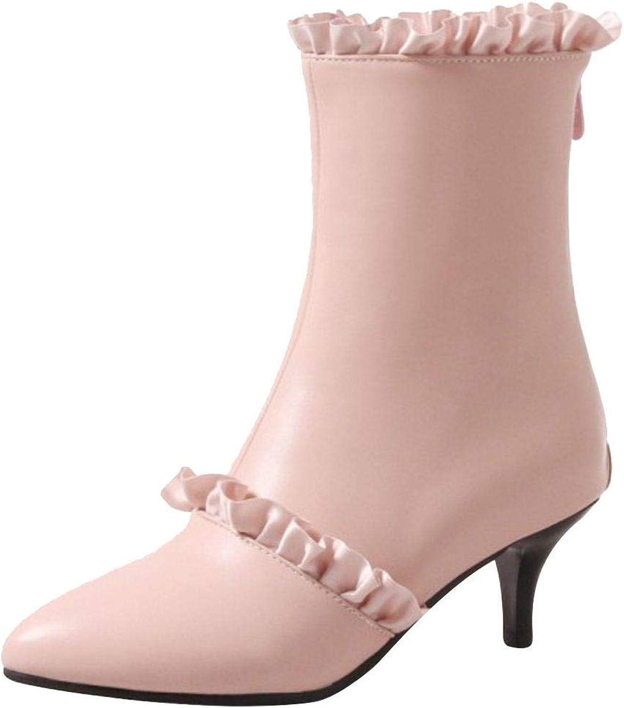 Unm Women's Heels Ankle High Boots Zipper