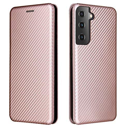 TOPOFU Hülle für Samsung Galaxy S21 5G Handyhülle, Flip Wallet Tasche mit [Kartensteckplätzen], Kratzfestem Kohlefaser PC + Stoßfestem TPU + Freiem Ständer, Lederhülle Schutzhülle-Rosa