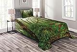 ABAKUHAUS Wald Tagesdecke Set, Exotischer Dschungel Wald, Set mit Kissenbezug Klare Farben, für Einselbetten 170 x 220 cm, Grün braun