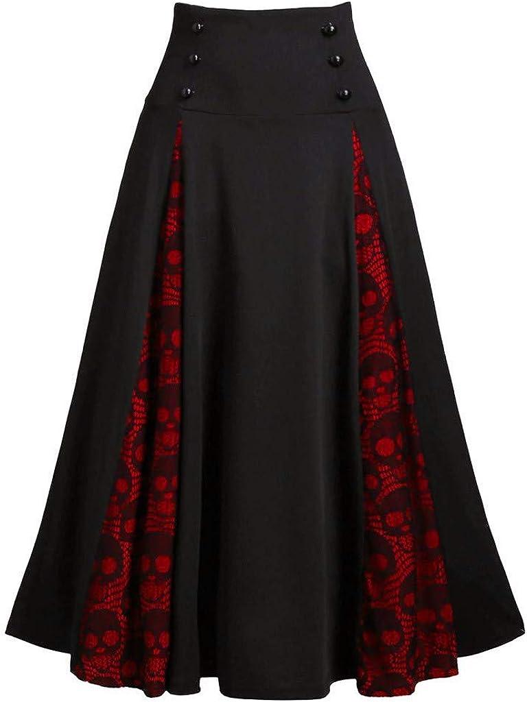 NREALY Falda Womens Plus Size Lace Patchwork High Waist Midi Skirt Gothic Pleated Skirt