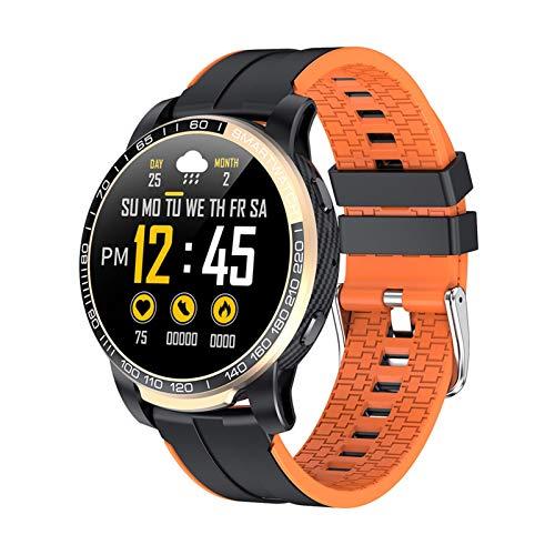 Reloj inteligente PW20 con Bluetooth, para hombre, presión arterial, frecuencia cardíaca, 24 horas, varios deportes, para Android iOS (color: naranja)