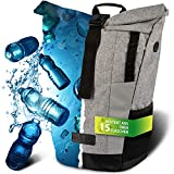 invilus ® - Rolltop Rucksack aus Recyceltem und Stark Reflektierenden Material - [Sicher durch die Nacht] - Für Uni, Sport, Arbeit oder Freizeit - Farbe Grau
