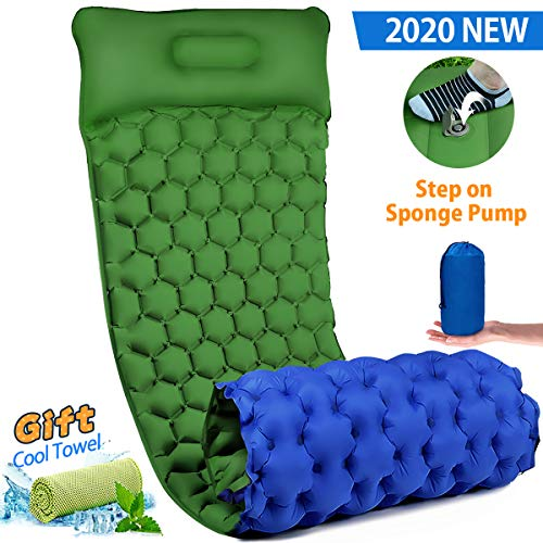 Inflatable Sleeping Mat Pad, Ultralight Camping Mattress with Pillow, Waterproof Leak-proof Inflating Single Bed, Portable Air Pad Mat for Backpacking,Camping,Travel (Green)