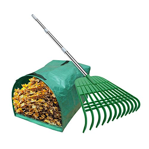 Gardzen 12 Tines Gardening Leaf Rake, Lightweight Steel Handle, Detachable, Ideal Camp Rake, Comes with Dustpan-Type Garden Bag