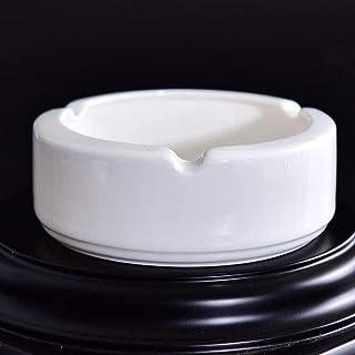 takestop/® POSACENERE ceramica NERO SET 2 PEZZI TONDO 105MM IMPILABILE PORTACENERE POSA CENERE PORTA CENERE ROTONDO CASA UFFICO SCRIVANIA