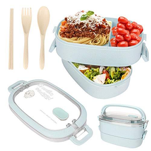 Sinwind Lunch Box, Bento Box Boite Bento, Boîte à Repas, Sécurité Anti-Fuite Écologique Hermétique Boîte à Repas pour Micro-Ondes et Lave-Vaisselle pour Le Pique-Nique, l'école, Le Travail (azul)