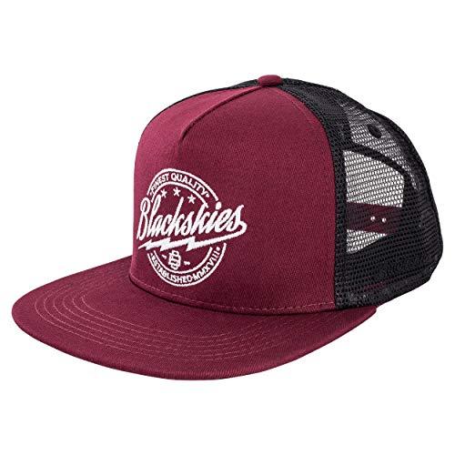 Blackskies Iconic Trucker Snapback Cap   Unisex Baseball Mütze Kappe Herren Damen Skater Mesh - Weinrot Schwarz