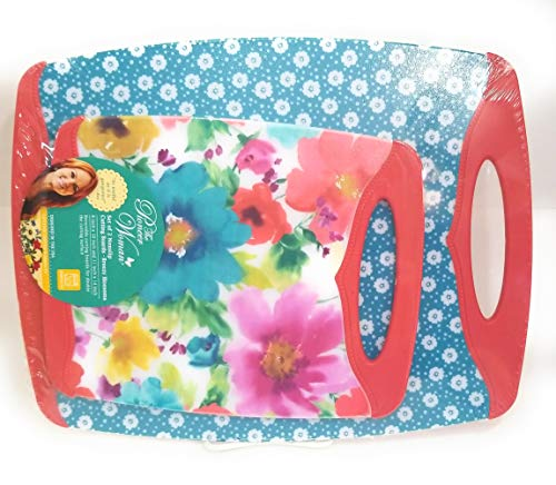 The Pioneer Woman Nonslip Cutting Board, Breezy Blossoms, set of 2 Coordinating Designs, Medium and Large Sizes