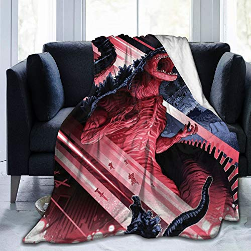 Best Fleece Bed Blankets, All Godzilla Monsters Anime Poster Personalized Throw Blankets, Wrinkle-Resistant Ultra Soft Game Blanket Fit Mom Home Airplane