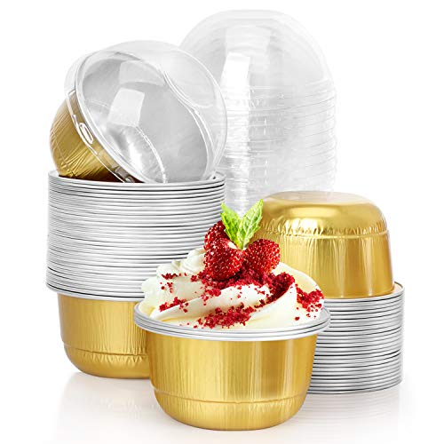 Baking Cups Aluminum Foil, Eusoar 5oz 50pcs Reusable Cupcake Cups with Lids, 2.95x2.59x1.69' Pie Ramekins, Creme Brulee Crisp Cups, Custard Cake Pudding Jello Cups, Catering Party Favor-Gold