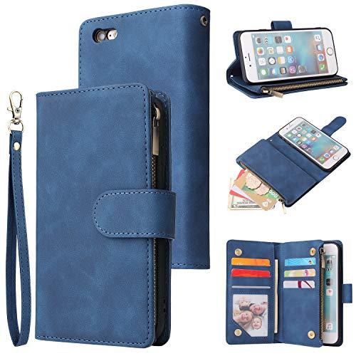 UEEBAI Wallet Case for iPhone 6 6S, Premium Vintage PU Leather Magnetic Closure Handbag Zipper Pocket Case Kickstand Card Holder Slots with Wrist Strap TPU Shockproof Flip Cover - Blue