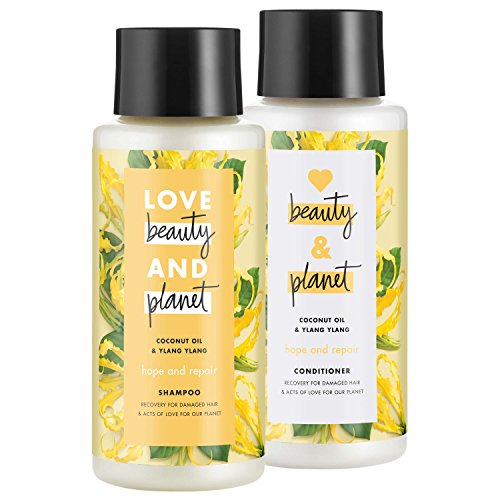 Love Beauty And Planet Shampoo and Conditioner for Damaged Hair Coconut Oil and Ylang Ylang 13.5 oz,...