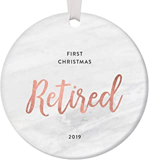 2019 First Christmas Retired Gift Ornament Best Retirement Party Idea Collectible Retiring Woman Milestone Holiday Keepsake 1st Year Home Memento Rose Gold Tree Decoration 3-Inch Ceramic Flat Round