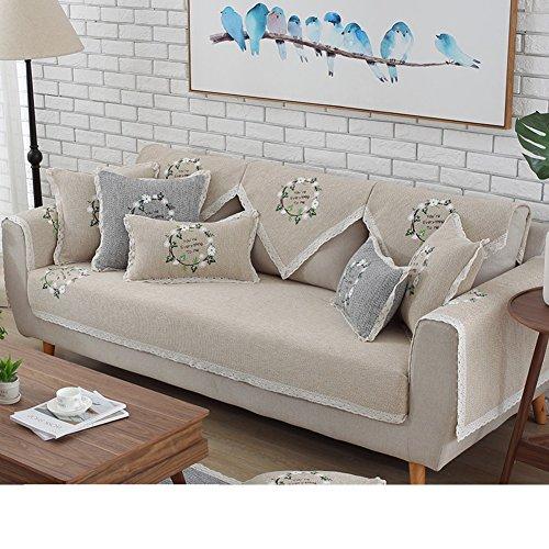 DW&HX Élégant Coton Protecteur de Meubles canapé pour Housse canapé Chien,3 sièges Solid Color épaissir Le canapé Jet couvertures Anti-dérapant -B 43x83inch(110x210cm)