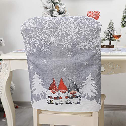 Stuhlhussen Weihnachten Stuhlbezug Rot Nikolausmütze Stuhl Stuhlüberzug Weihnachtsmütze Weihnachtsdeko für Weihnachten Dinner Party Stuhl Hussen Dekor (C - Grau)